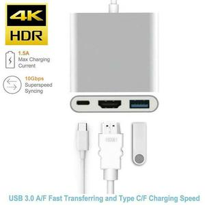Image 2 - Type C USB 3.1 to USB C 4K HDMI USB 3.0 Adapter Cable 3 in 1 Hub For Macbook Pro