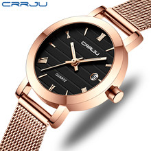 CRRJU Women's Watches 2020 Luxury Ladies Date Watch Fashion Stylish Waterproof Slim Quartz Watches for Women Reloj Mujer