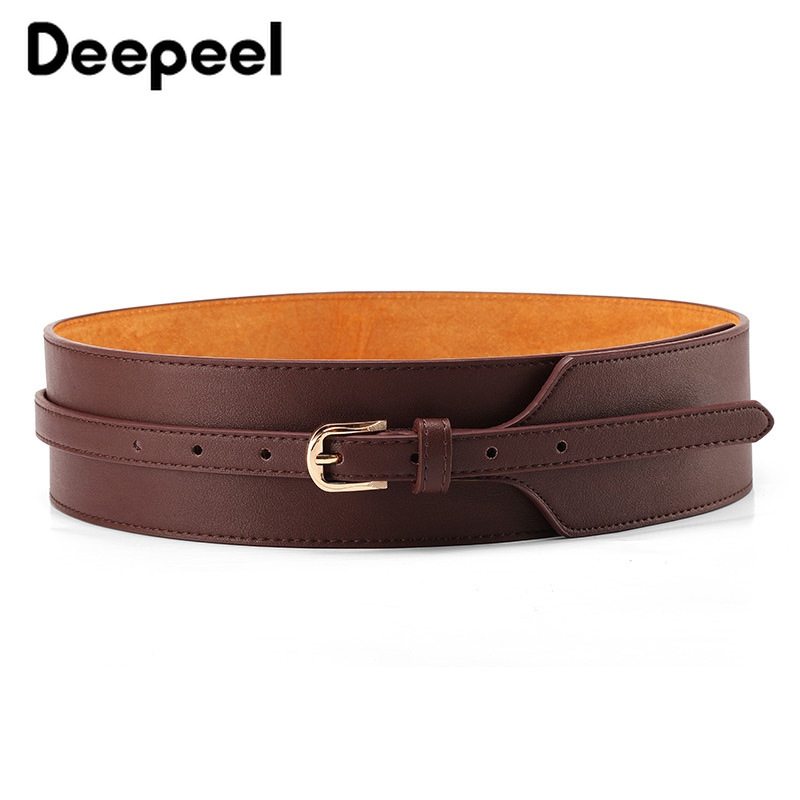 Deepeel 1pc 6cm*95cm Women Cowhide Genuine Leather Cummerbund Metal Square Buckle Retro Decorative Hige Wide Waist Belts YK754
