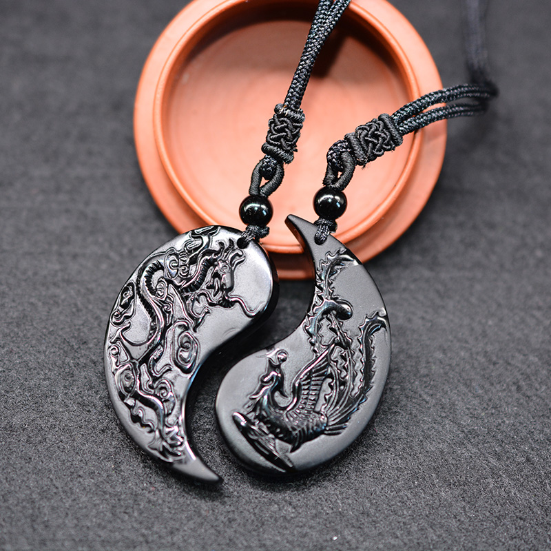 Necklace Pendant Phoenix Obsidian Dragon Yin Yang Carving And 1set title=