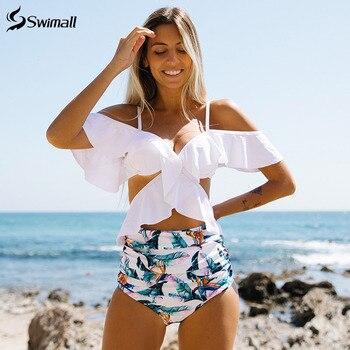 Sexy Floral Ruffle Costume Da Bagno Bikini A Vita Alta 1