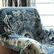 Multi-usages épaissir pur coton fil tricoté couverture avec gland décontracté Tribal bohème tricoté couverture canapé couverture