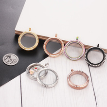 Wholesale with Crystals Floating Lockets Waterproof 20mm 25mm 30mm 35mm 316l Stainless Steel Round Glass Locket Pendant