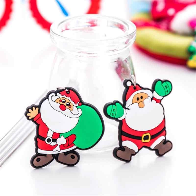 ซิลิโคนการ์ตูนSanta Claus Snowman Xmas Tree Keyแหวนจี้คริสต์มาสปีใหม่ของขวัญ