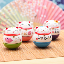 Ceramic Lucky Cat Tumbler Small Decoration Office Furniture Creative Home Furnishing Female Birthday Gift Desk Placement home