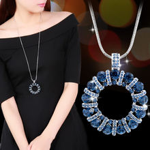 Женское Ожерелье с круглым кулоном длинное ожерелье кристаллами