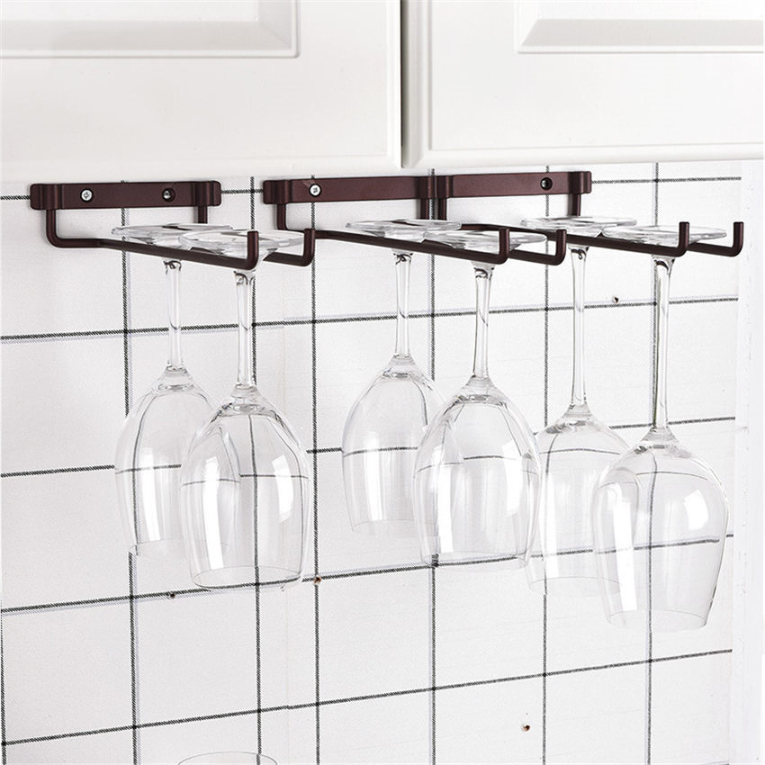 Hanging Metal Wine Cup Stemware Rack Champagne Plated Wine Glass Cup Bottle Goblet Inverted Holder Kitchen Wall Mount Wine Rack