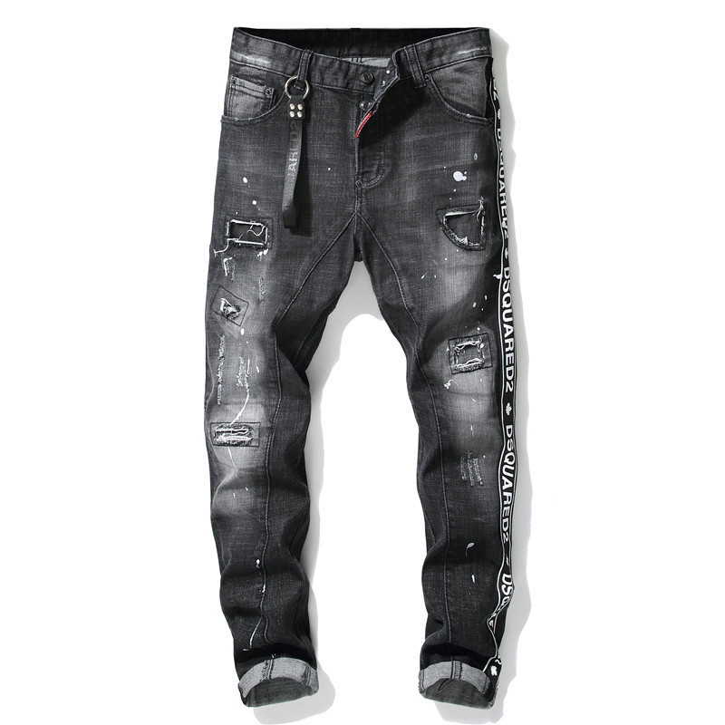 Autumn And Winter New Style Tattered Paint Splattered Joint Men Slim Fit Elasticity Jeans Black And White With Pattern Pure Cott