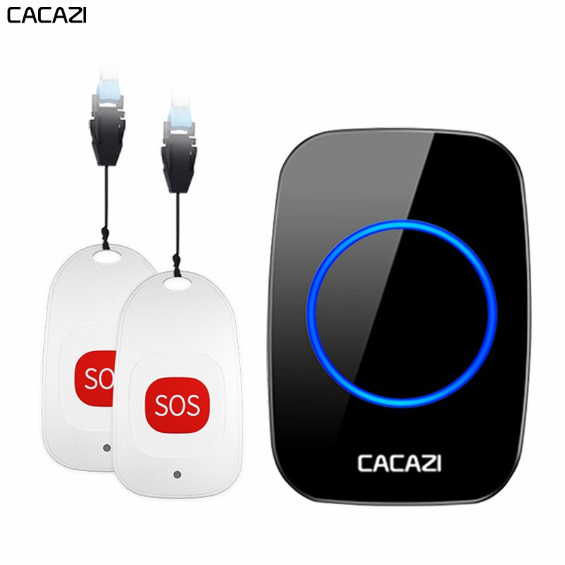 CACAZI Smart Home Wireless pager <font><b>doorbell</b></font> Old man Emergency alarm Call Bell US EU UK Plug 80m <font><b>Remote</b></font> 1 button 1 pager 1 Receiver image