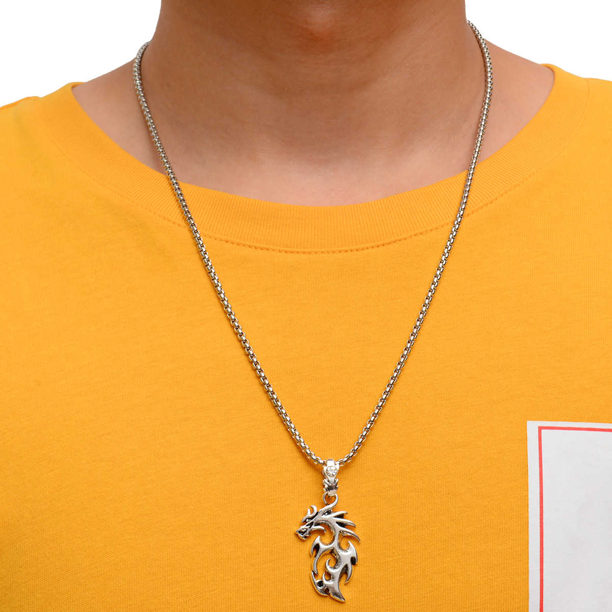 Punk wisiorek w kształcie smoka naszyjnik Shellhad Antique srebrny złoty kolor długi łańcuszek Neckleace dla mężczyzn w stylu chińskim biżuteria na szczęście prezent