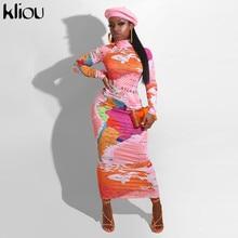 Kliou Print Women Bodycon Party Dresses Turtleneck Long Sleeve Fashion Streetwear Skinny Slim Maxi Dress Female Clothing Hot