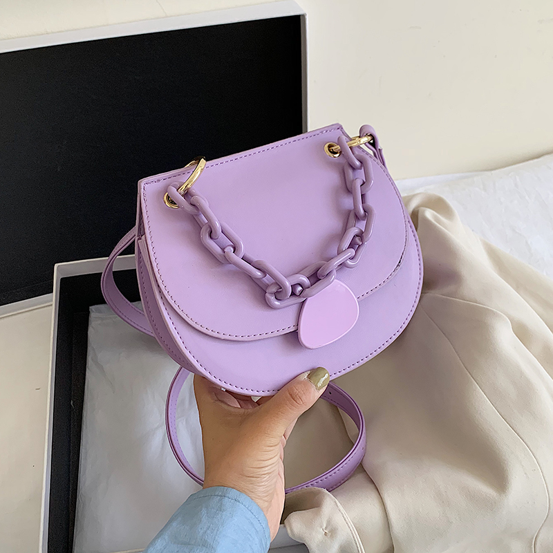 Solid Color Saddle Bags Small PU Leather Crossbody Bags For Women 2020 Female Candy Color Summer Chain Shoulder Handbags