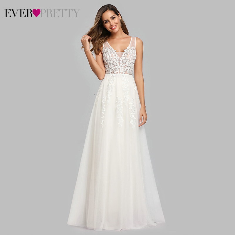 Simple Backless White Beach Wedding Dress Lace See-Through V-Neck Floor Length A Line Wedding Gowns Vestido De Casamento 2020