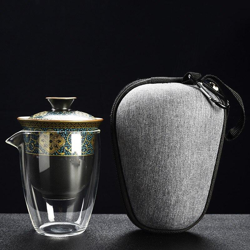 Термостойкий стеклянный чайник, чайный сервиз, китайский чайный сервиз Кунг-фу, кофейный чайный сервиз, стеклянный керамический чайный сер...