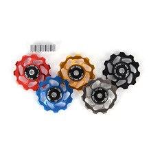 1 pçs 4/5/6mm eixo rolos 11t mtb bicicleta traseira desviador jockey roda cerâmica rolamento polia estrada bicicleta guia