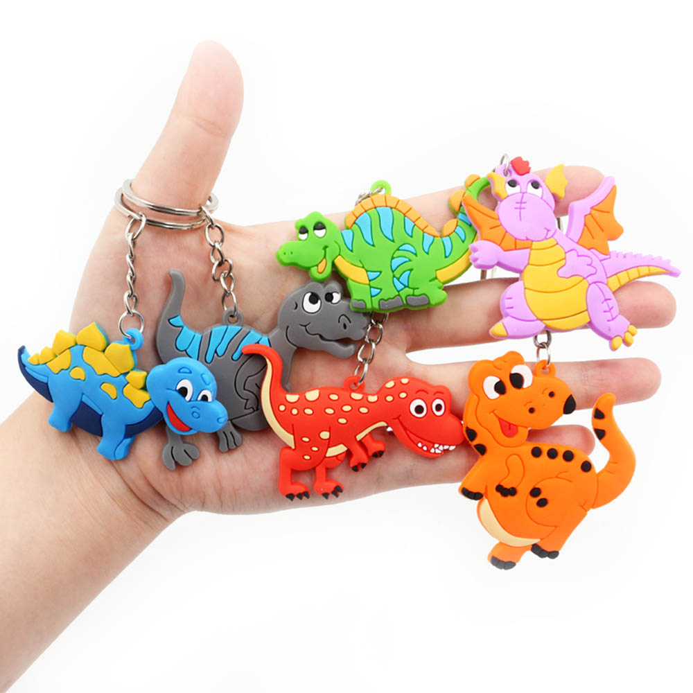 2019 6Pcs Boys Dinosaur Keychain Set Kids Soft PVC Keyring Charm Men Key Chain Auto Pendant Plastic Ring Gifts