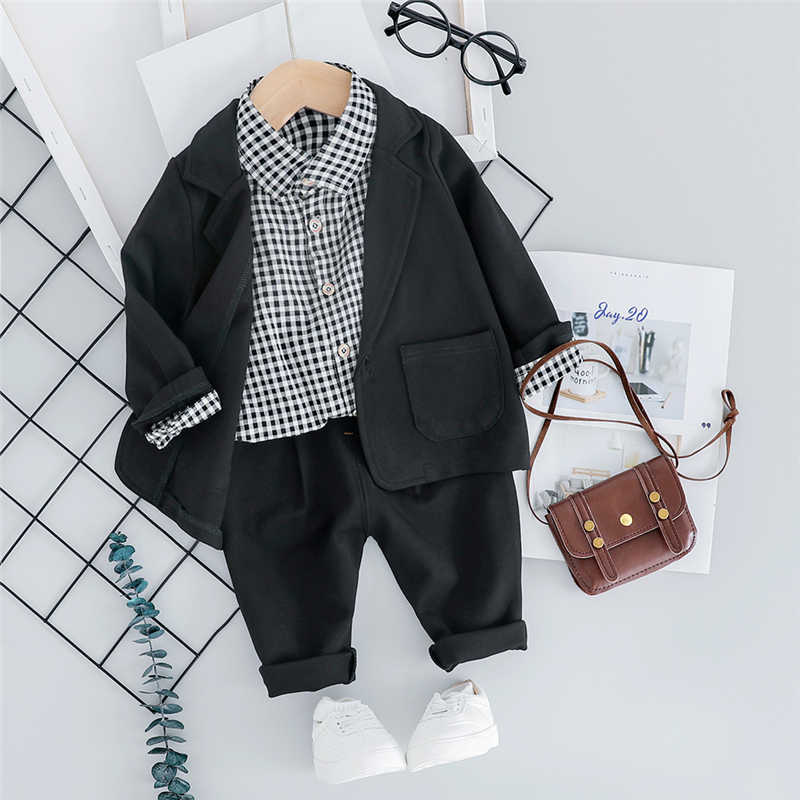HYLKIDHUOSE 2019 Autumn Baby Boys Clothing Sets Toddler Infant Clothes Suits Coats Plaid Shirt Pants Children Casual Costume