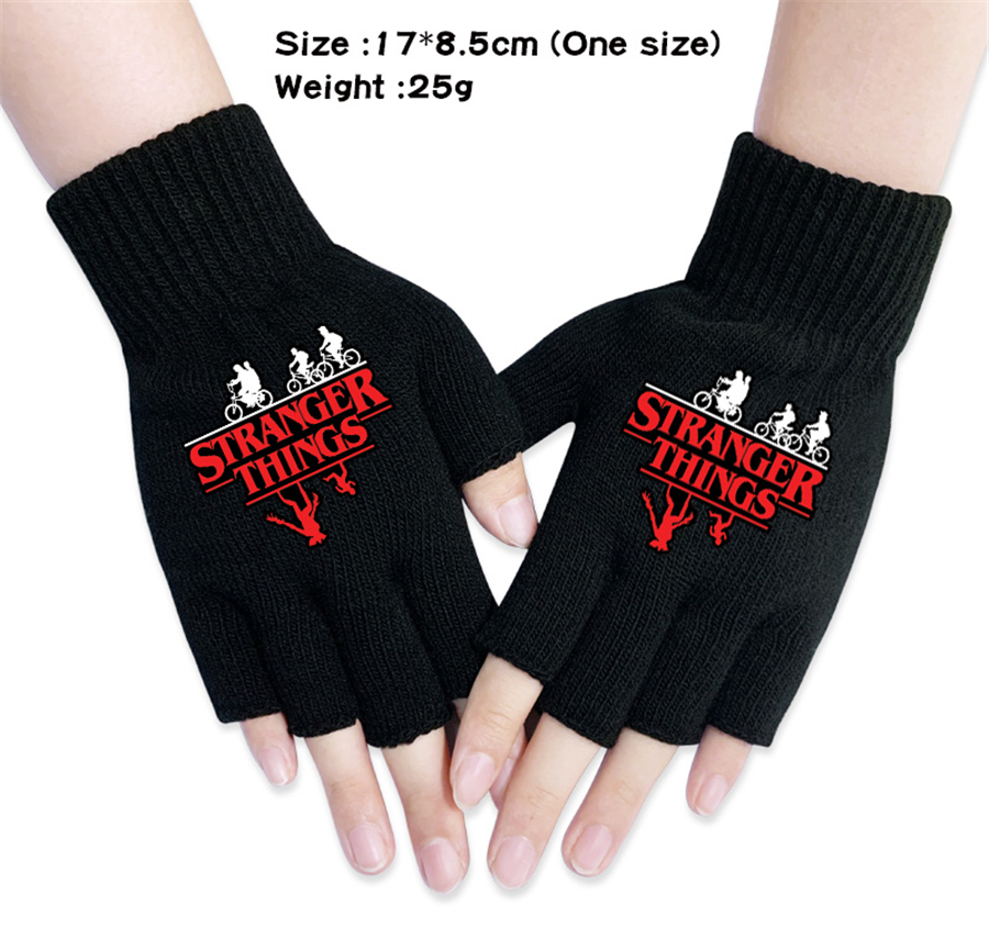 Children Gloves Solid Color Half Finger Mittens Winter Kids Warm Knitted Gloves