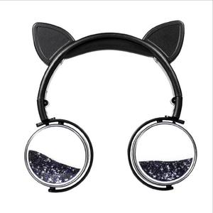 Image 5 - New Cat Ear Wired Headphones Hourglass Glitter Style Women Girl Music Gaming Headset For Mobile Phone Computer PC 3.5mm Jack