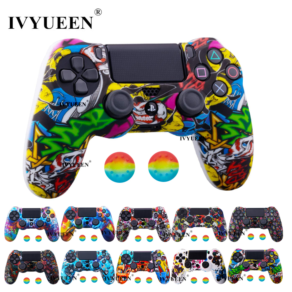 IVYUEEN 44 Colors Silicone Camo Protective Skin Case For Sony Dualshock 4 PS4 DS4 Pro Slim Controller Thumb Grips Joystick Caps(China)