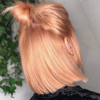 Joedir Bob koronkowe peruki z przodu różowe złoto Bob peruka ludzkie włosy brazylijski Ombre blond Bob peruka kolorowe różowe włosy ludzkie częściowo koronka peruka tanie i dobre opinie Proste Remy włosy Średnia wielkość Średni brąz Ciemniejszy kolor tylko Swiss koronki