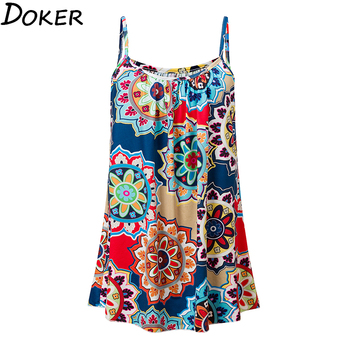 2020 New Summer Floral Print Long T Shirt Women O-neck Sexy Sleeveless Top Streetwear Womens Plus Size Fashions Tee Shirt Femme 1
