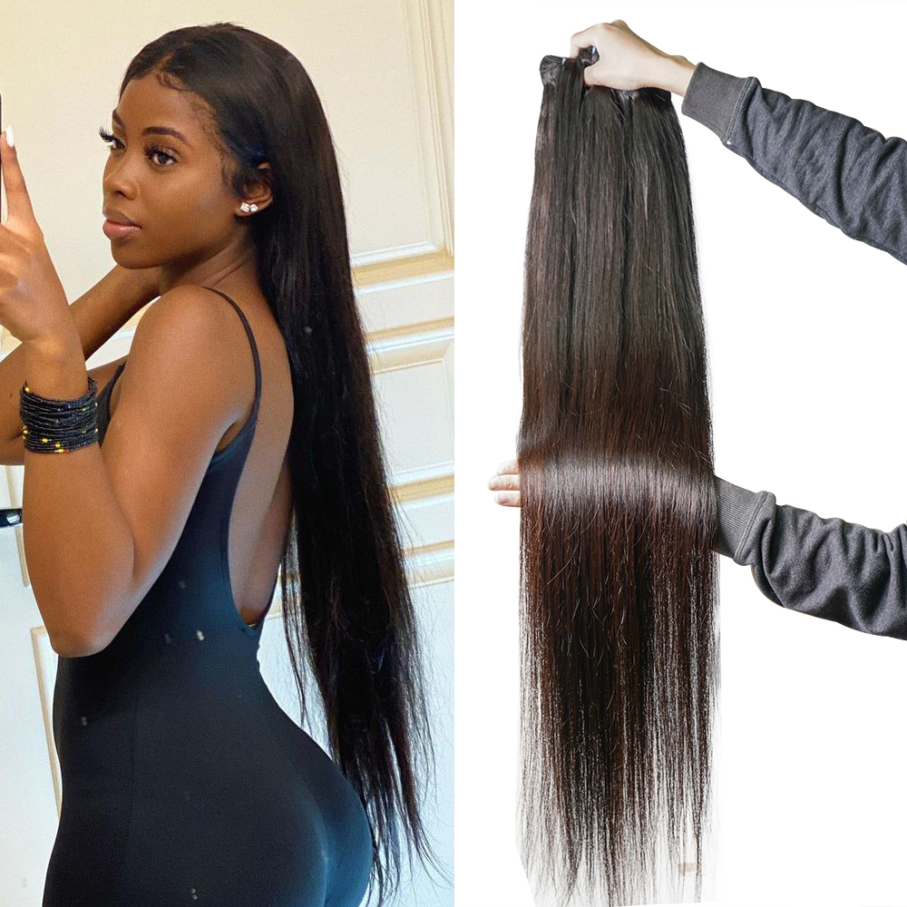 30 Inches Bone Straight Human Hair Bundles for Black Women Non Remy Straight Hair Bundles Human Hair Weave Bundles 3/4 Pcs / Lot