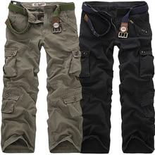 Высокое качество Мужские Брюки Карго повседневные свободные мульти карманы военные брюки длинные брюки для мужчин камуфляж джоггеры размера плюс 28-40