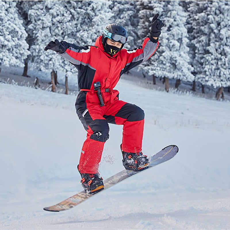 Traje de esquí de invierno para hombre de una pieza mono de nieve impermeable grueso cálido snowboard chaqueta snowboard pantalones de esquí de montaña