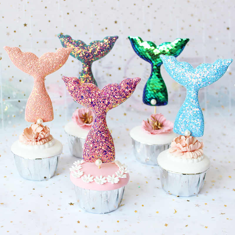 1pc spanish happy birthday mermaid tail cake topper feliz cumpleanos Ariel princess baby shower birthday party decor kids toys