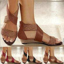 Женские Модные кожаные сандалии женская обувь на танкетке пикантные