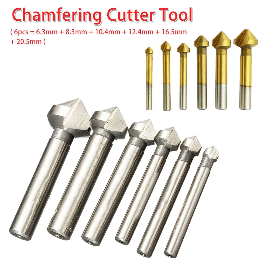 3 Flute 90 Degree 6pcs/1pcs Countersink Drill Bit Round Handle HSS Wood Steel Chamfer Cutter 6.3-20.5mm For Carbon Steel/ PVC
