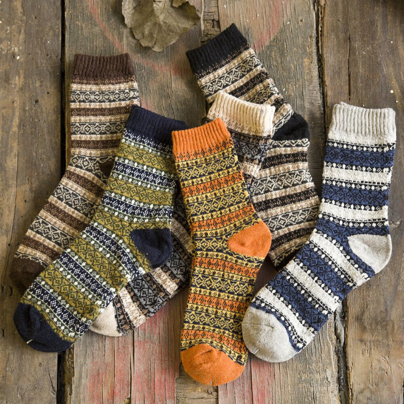 Men Women Vintage Striped Totem Winter Socks Teenager Merino Wool Socks Rabbit Wool Thick Thermal Socks Art For Male