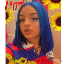 Paff Blue Bob 13×4 Lace Front Hair Synthetic Straight Short Lace Wig Pre Plucked Middle Part  With Baby Hair for Black Women natural lace front wigs for black women synthetic hair middle part wig pink straight hair style