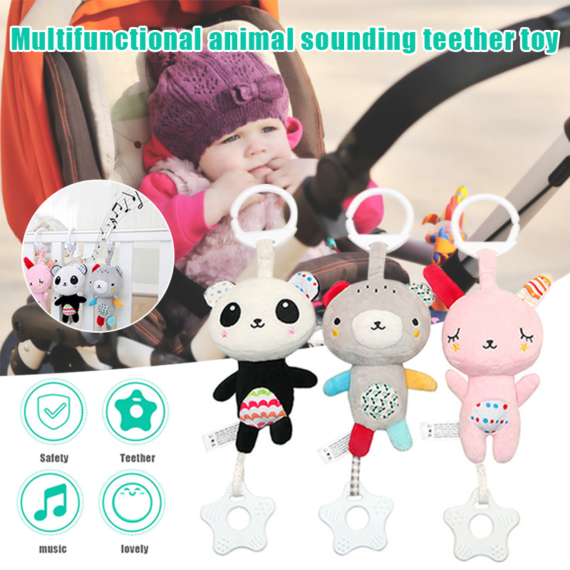 Multifunctional Bed Bell Cartoon Animal Teether Music Hanging Toy For Baby Stroller BM88