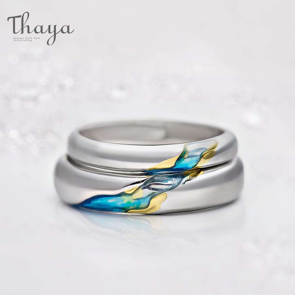 Thaya S925 כסף זוג טבעות החוף האחר כוכבים עיצוב טבעות לנשים גברים Resizable סמל אהבת חתונה תכשיטי מתנות