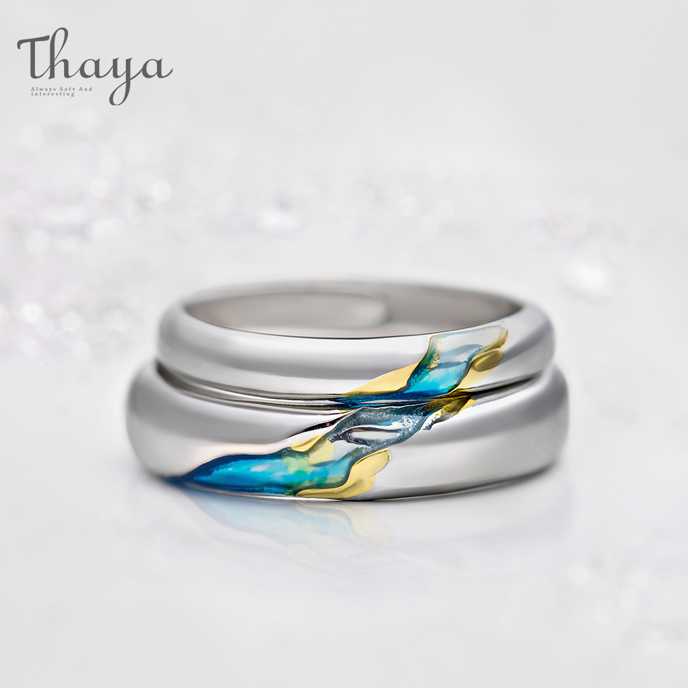 Thaya S925 Silver Couple Rings The Other Shore Starry Design Rings  For Women Men Resizable Symbol Love Wedding  Jewelry Gifts