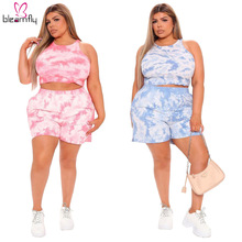 Fitness-Outfits Plus-Size Shorts Women And Summer 4XL 5XL Tie-Dye Crop-Top Printed 2piece-Set