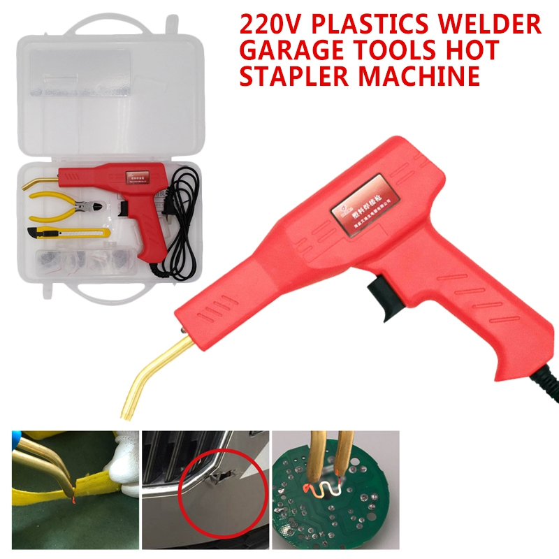 220V Plastics Welder Garage Tools Hot Stapler Machine +Alloy Steel 50 Watt Welding Equipment Repair Patching Tool Spot Welders