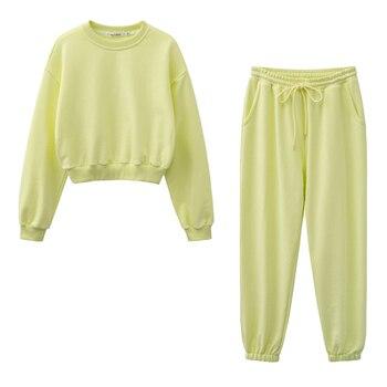 New design 2021 Women fashion sweatshirt sets Casual Spring Summer Crop top pants suit Cotton 1