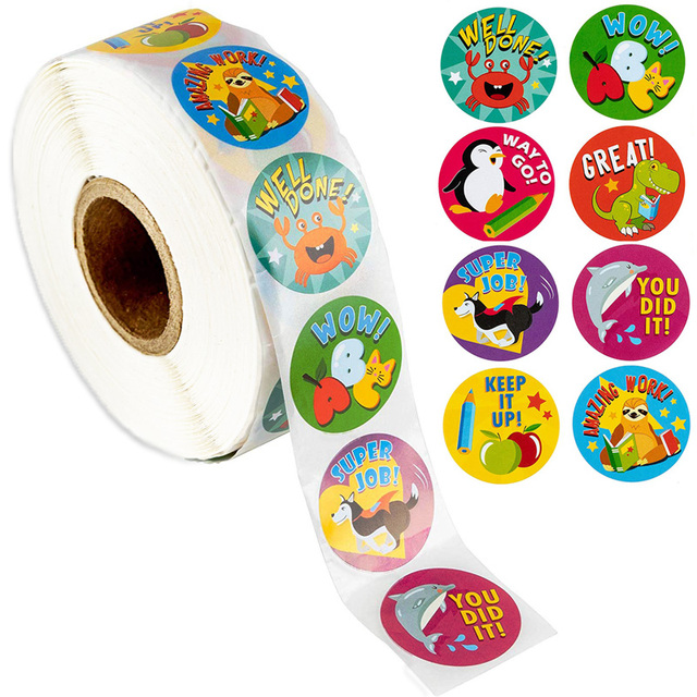 500 Pcs Reward Stickers Motivational Stickers Roll for Kids for School Reward Students Teachers Cute Animals Stickers Labels 1