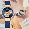 NAVIFORCE синие кожаные часы женские кварцевые часы женские высококачественные водонепроницаемые наручные часы подарок для жены 2019 Relogio Feminino