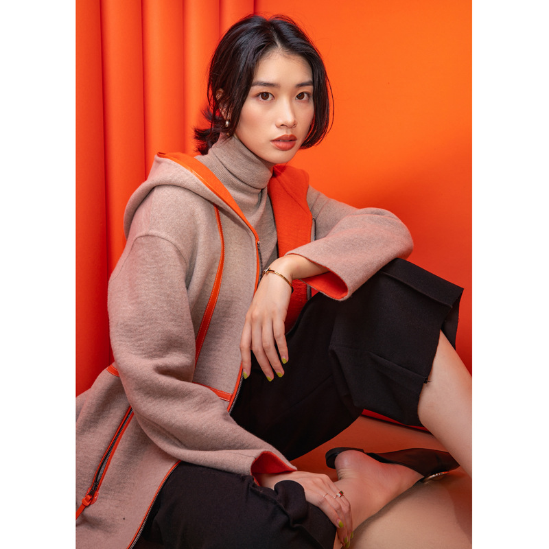 Shuchan Cashmere Coat Women Hooded Wide-waisted High Street Designer Women Clothing 2019 High Quality 50% Cashmere+50% Wool