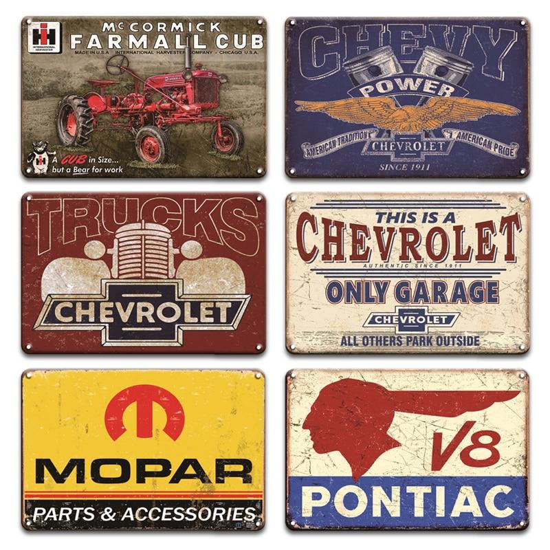 Ford Chevrolet Plaque Metal Tin Sign Vintage Garage Farmhouse Home Decor Mopar ROUTE 66 Metal Poster Plate Signs