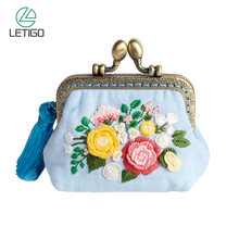 Kit de Mini cartera DIY con bordado Floral fácil, monedero de punto de cruz con flores, Kit de bolso DIY para principiantes, costura artesanal(China)
