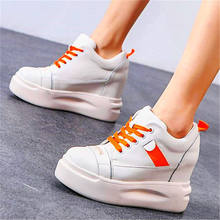 Women Cow Leather Fashion Sneakers Chunky Platform Wedge High Heel Lace Up Round Toe Casual Oxfords Boots Party Shoes(China)