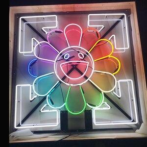 Quảng Châu Nhà Máy Tùy Chỉnh Murakami Takanori Mặt Trời Mặt Cười Neon Dấu Hiệu Khui Bia Quán Rượu Đảng Store Nhà Phòng Treo Tường Trang Trí 50*50 Cm