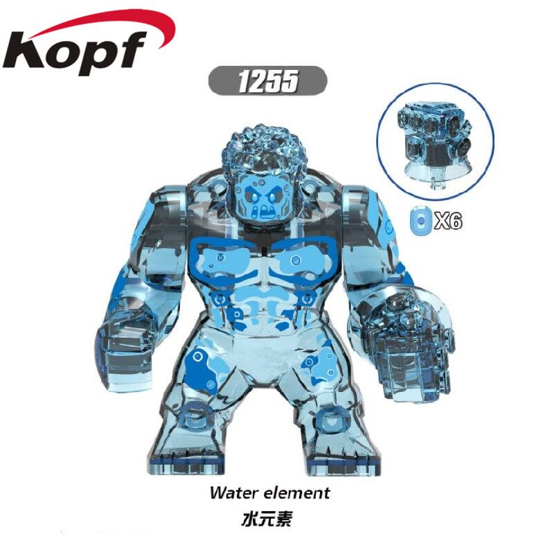<font><b>XH1255</b></font> Super Heroes 7CM Infinity War Water Element Earth Elemental Hulk Thanos Figures Building Blocks Action For Kids Gift Toys image