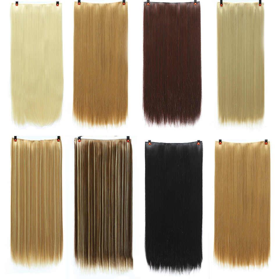 Lupu ストレートヘアの女性のかつらクリップ 24 インチ黒茶色高温人工毛クリップ 5 クリップ人工毛延長