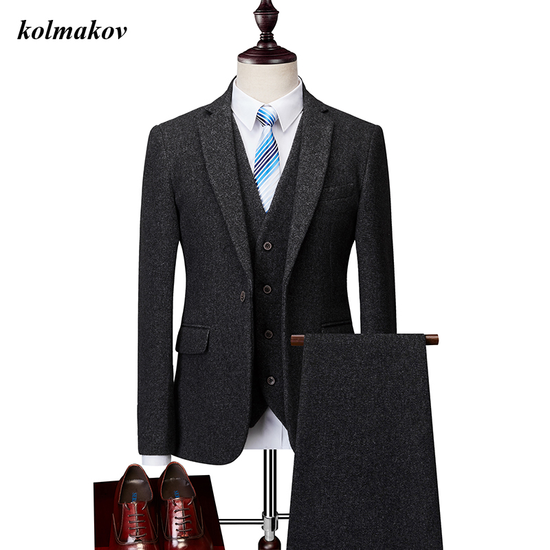 New Arrival Style Men Boutique Woolen Suits High Quality Business Casual Solid Men's Three-piece Wedding Suits Dress Size M-6XL